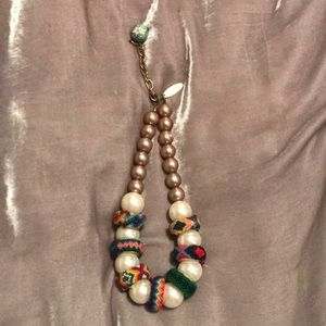 Anthropologie pearl and woven statement necklace